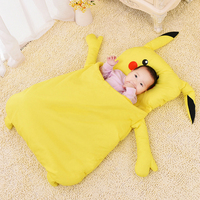 Lovely Pikachu Toddler Sleeping Bag Autumn Winter Thick Keep Warm Cotton Soft Sleeping Sack Baby Kid Newborn Stroller Winter Bag
