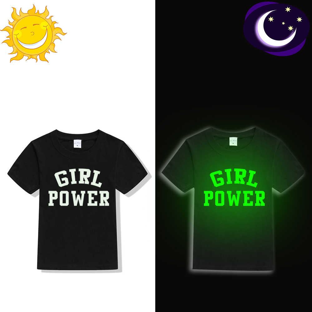 ילדים בנות קיץ Noctilucent חולצה ילדה כוח הדפסת אופנה זוהר בחושך בגדי מצחיק ילד זוהר קצר שרוול Tees חולצות