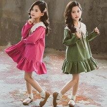 Dzieci dziewczyny z długim rękawem sukienka wiosna 2020 laleczka kołnierz sukienki dla malucha dziecko moda odzież 3 6 8 10 12 lat