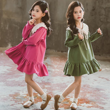 Kids Girls Long Sleeve Dress Spring 2020 Lovely Doll Collar Dresses for Toddler Baby Fashion Children Clothing 3 6 8 10 12 Years