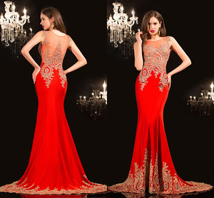 Evening Dresses 2019 robe de soiree Red Real Pictures Imported prom abiye gece elbisesi Beads Appliques Mermaid evening Dress