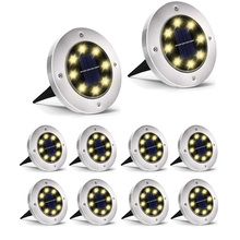 Thrisdar 10 قطعة تعمل بالطاقة الشمسية ضوء أرضي 8 LED في الهواء الطلق حديقة المشهد مسار الطاقة الشمسية دفن الطابق ضوء تحت الأرض مصابيح