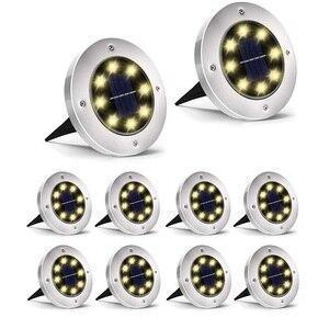 Image 1 - Thrisdar 10 قطعة تعمل بالطاقة الشمسية ضوء أرضي 8 LED في الهواء الطلق حديقة المشهد مسار الطاقة الشمسية دفن الطابق ضوء تحت الأرض مصابيح