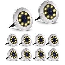 Thrisdar 10 Uds. De luz de tierra alimentada por energía Solar, 8 LED, para exteriores, jardín, paisaje, camino, Luz de suelo enterrada Solar, lámparas subterráneas