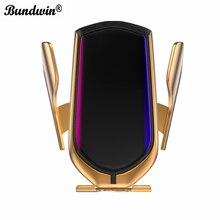 Bundwin carregador sem fio para carro, suporte de telefone com braçadeira automática para huawei mate 20 pro, samsung s9, note9, note8, qi montagem de carga rápida