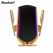 bundwin Car Wireless Charger 10W Automatic Clamp Phone Holder for Huawei Mate 20 Pro Samsung S9 Note9 Note8 Qi Fast Charge Mount