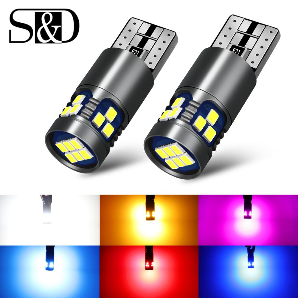 2PCS Super Bright LED T10 W5W LED Bulbs 3030 Car Interior Reading Light Marker Lamp 168 194 LED Auto Wedge Parking 12V For Cars