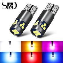 Lâmpadas de led t10 w5w super brilhantes, 2 peças, 3030, interior do carro, luz de leitura, lâmpada marcador, 168 194 led, auto estacionamento cunha 12v para carros