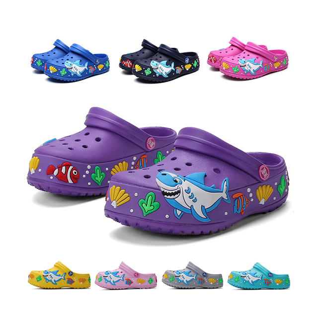 Children Summer Cute Cartoon Sandals Quick-Dry Beach Clogs Slippers Light-weight Non-slip Wear-resistant Boy Girl Slip-on Shoes