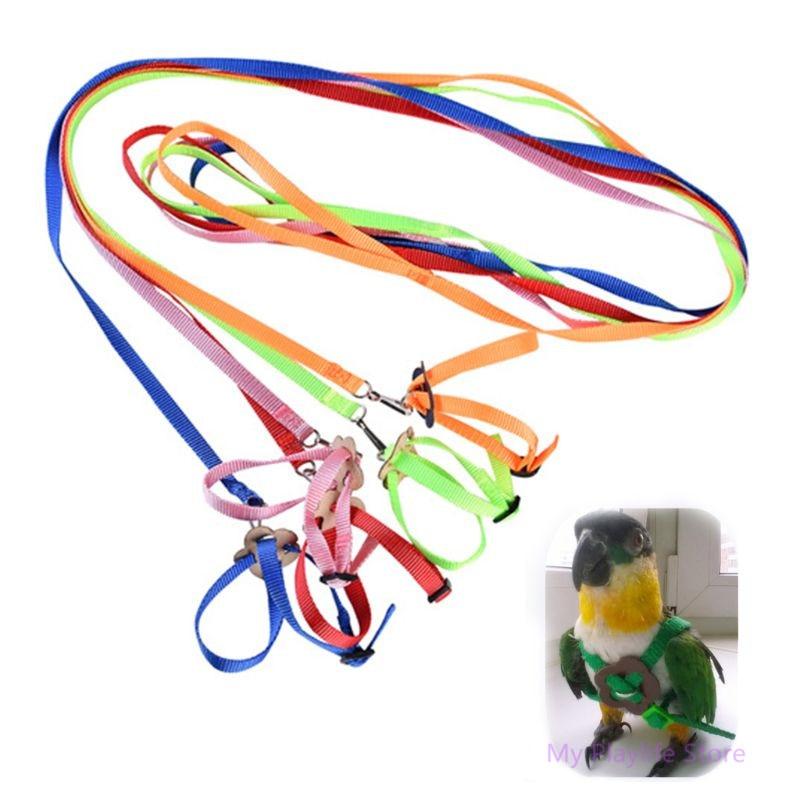 Colar colorido do pássaro do papagaio arnês ajustável tartaruga do hamster lagarto tração corda rédeas colar em forma de 8 coleira cinta pet trela c42
