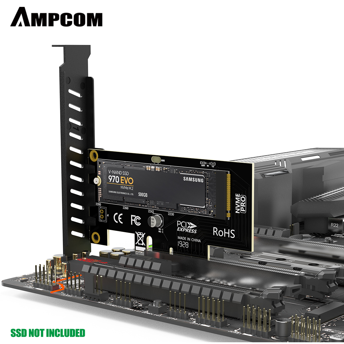 AMPCOM M.2 NVME SSD to PCIe 4.0 Adapter Card, 64Gbps SSD PCIe4.0 X4 Adapter for Desktop PC , PCI-E GEN4 Full Speed