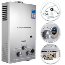 VEVOR нагреватель горячей воды 8л 2.1GPM 16KW сжиженный природный газ водонагреватель с душевой головкой комплект стены