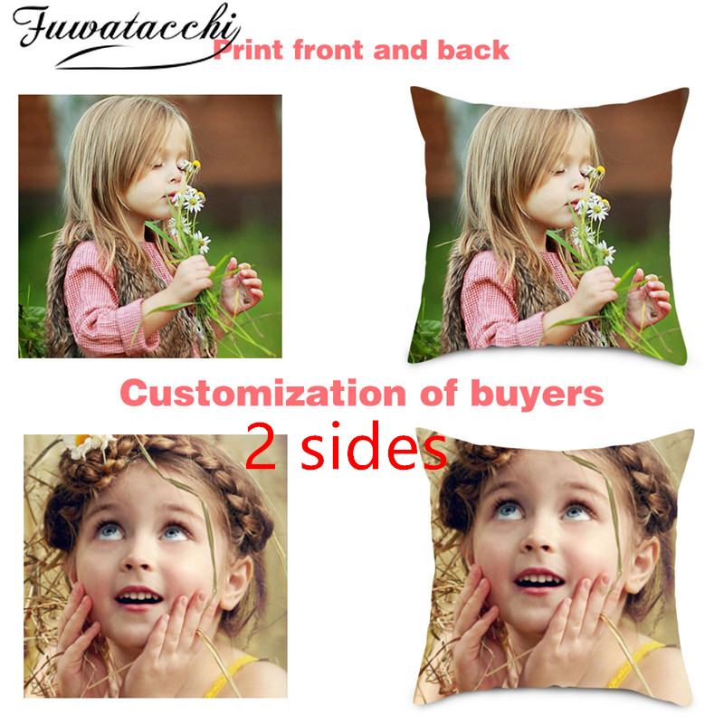 Fuwatacchi DIY Decoration Photo Print Cushions Home Decor Cute Pillowcase Color DOUBLE-SIDE Luxury Custom Pillow Case Cover Gift