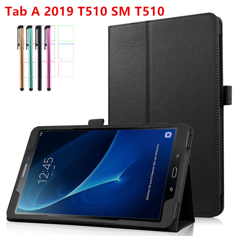 Case For Samsung Galaxy Tab A 10.1 2019 T510 T515 Stand PU Leather Cover For SM-T510 SM-T515 10.1 Inch Smart Tablet Cover+Pen