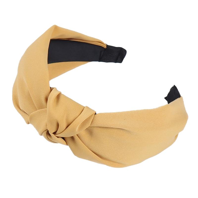Couleur unie noeud bandeaux pour femmes Simple tissu filles bandeau femmes cheveux accessoires large côté bandeau 43