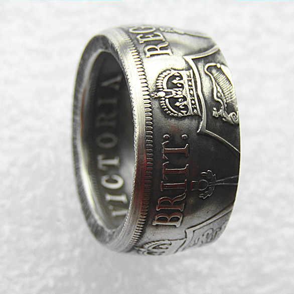 Handmake Anello Coin da UF01 Gran Bretagna, victoria 1887 Doppio Florin Argento Placcato Copia Coin'date' in Dimensioni 8-16