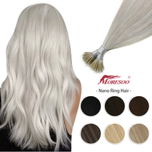 Moresoo Human Hair Extensions Nano Ring Hair Machine Remy Brazilian Nano Beads Real Hair Extensions Silky Straight 50G/50S