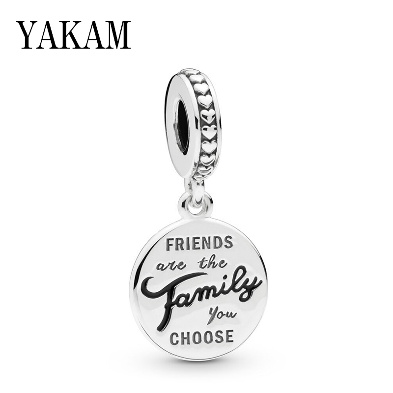 Friendship Pendant <font><b>Charms</b></font> Fit <font><b>Pan</b></font> <font><b>Bracelet</b></font> FRIENDS are the Family you CHOOSE Dangle Bead for Jewelry Making Women Bangle DIY image