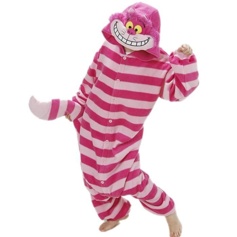 Pyjama Sleepwear Onesies For Adults Cheshire Cat Kigurumi Pajamas Pink Cartoon Onepiece Costume For Women Men Winter Cartoon XXL