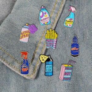 Image 5 - Забавные чистящие штифты, фигня, значки с героями мультфильмов, мешочек для брошек, аксессуары, эмалированные булавки, забавные ювелирные изделия, подарки для друзей