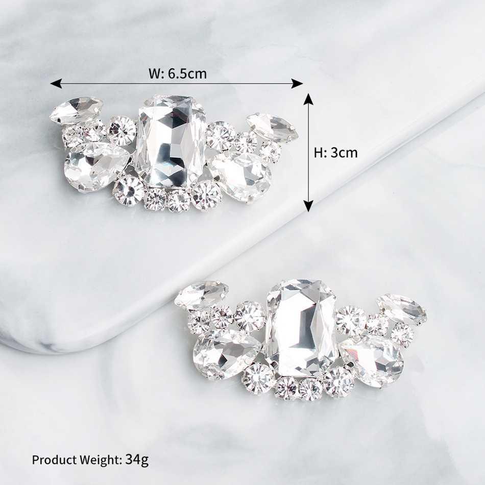 Mecresh 2pcs/lot Statement Teardrop Shape Crystal Women High Heels Clips Geometric Bridal Wedding Shoes Buckle Decoration MXK004