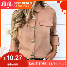 New Women Khaki Casual Shirts Spring Autumn Button Basics Army Gals Lad