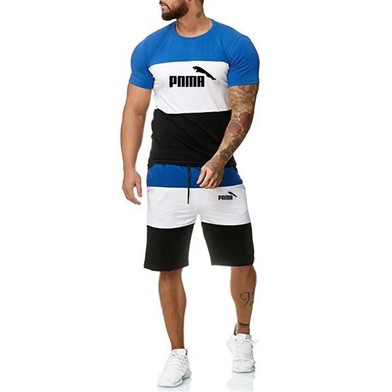 2021 New Summer Cotton Men's Sports Suit T-shirt + Shorts Set Quick Dry Casual Running Suit Short Sleeve Shorts 2 Pieces Set