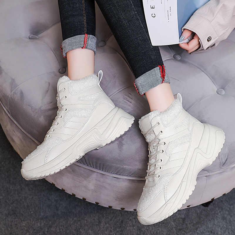 Snowboots vrouwen Winter Schoenen 2019 Nieuwe High Top Sneakers Platform Witte Schoenen Fluwelen Bont Warme Snowboots Voor vrouwen boot