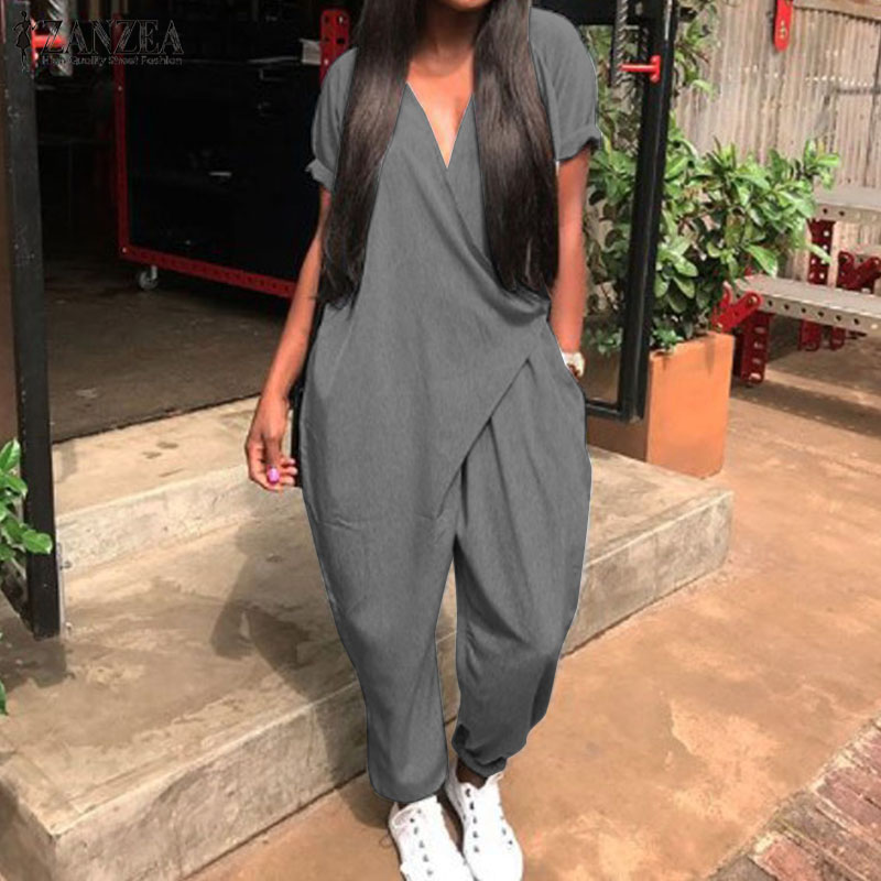 2019 Fashion Summer Rompers ZANZEA Women Jumpsuits Casual Loose V Neck Short Sleeve Overalls Harem Pants Solid Long Playsuits 7