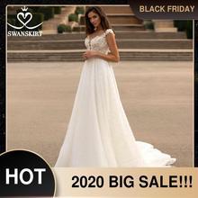 Swanskirtファッションクリスタルウェディングドレス2020新恋人アップリケaラインイリュージョン王女の花嫁のガウンvestidoデ · ノビアGI51