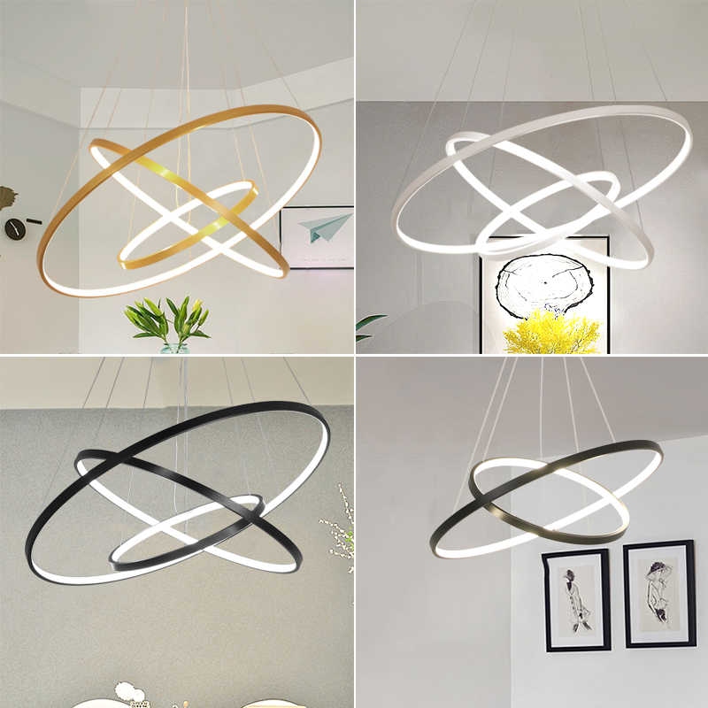 Mavesan подвесные светильники для гостиной фойе номер 1/2/3 кольца круг акрил алюминиевый корпус светодиодный подвесной светильник светильники домашнего