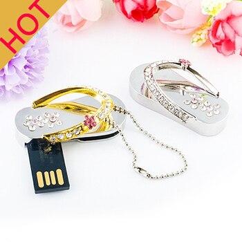 Fashion Jewelry Crystal Shoes 16GB 8GB Gold/Silver 2.0 Usb Flash Drive Memory Stick Pen Drive 1TB Necklace Gift 32GB 64GB 128GB