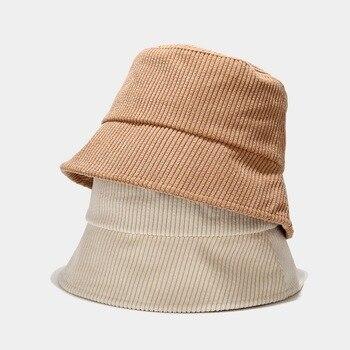 New Corduroy Bucket Hat Women Panama Winter Autumn Warm Solid Streetwear Folding Travel Sun Cap Big Wide Visor Vintage Flat Hat