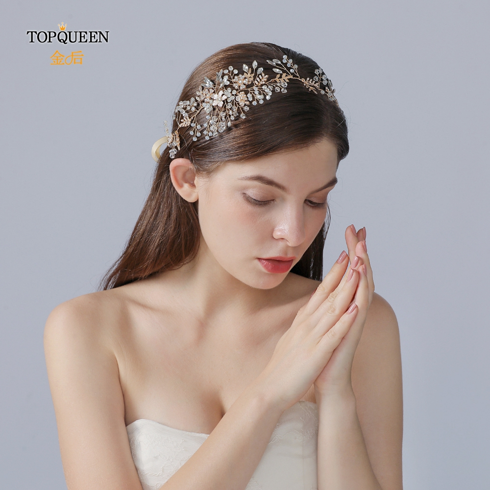 TOPQUEEN HP235 Bridal Headband Tiara And Crown Rhinestones Wedding Headpieces Hair Ornaments Bridal Floral Vine Hair Accessories