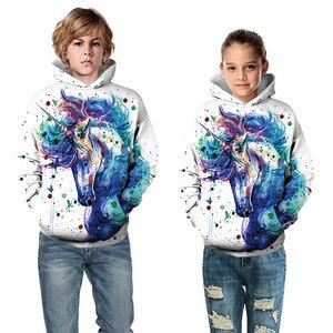 Image 2 - Модные толстовки с объемным единорогом; Толстовка для девочек и мальчиков с принтом радуги, лошади, животных; Детская толстовка с длинными рукавами; Осенняя детская одежда