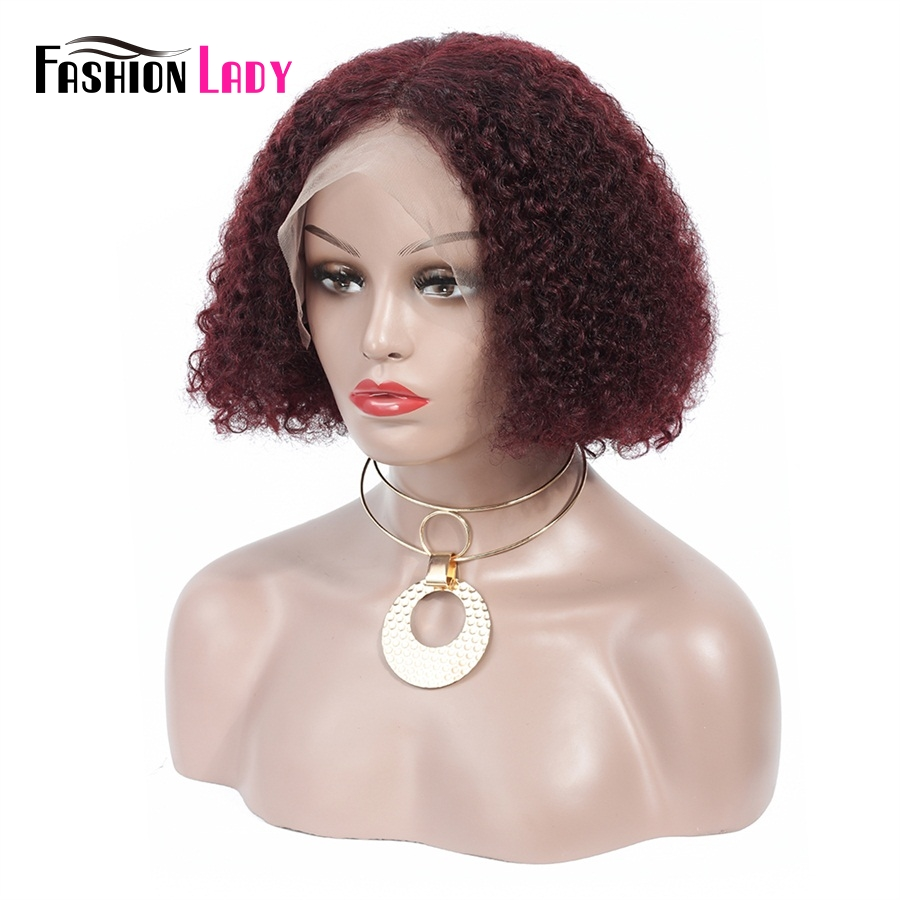 FASHION LADY Burgundy Lace Front Human Hair Wigs Short Bob Lace Front Wig Curly Hair Wigs For Black Women
