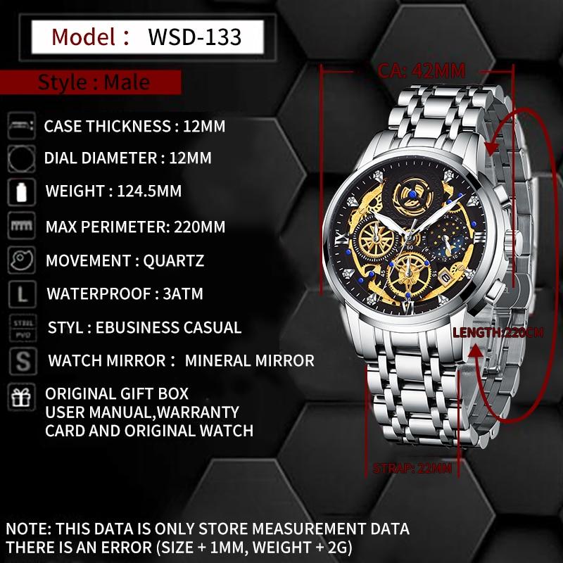 2021 New Fashion Men's Watch Stainless Steel Top Brand Luxury Waterproof  Sports Chronograph Quartz  Men's Relogio Masculino 2