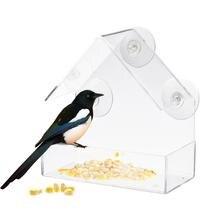 Оконная кормушка для птиц с супер Крепкие присоски, маленький, прозрачный акрил, легко чистить, открытый Кормушка Для белки