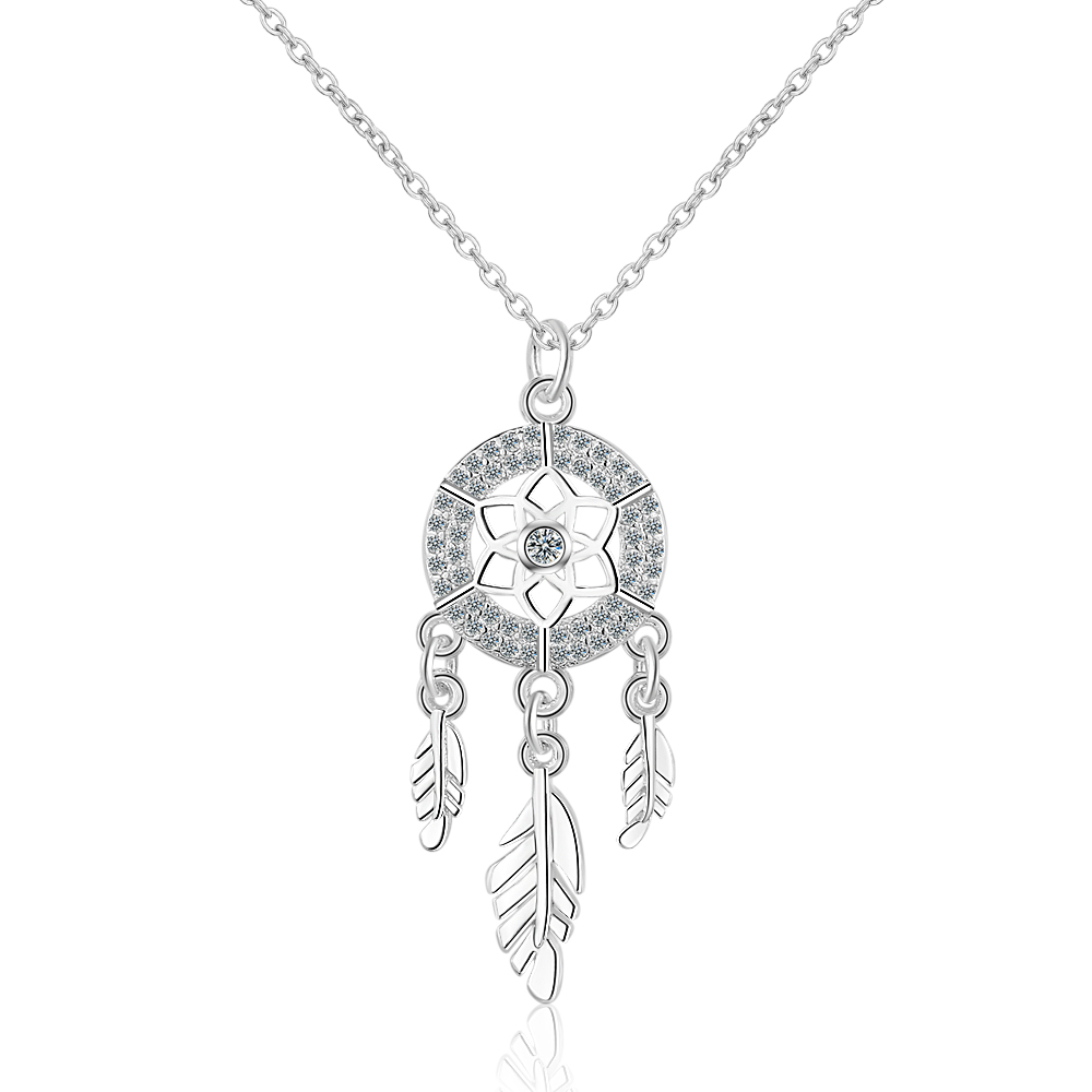 S925 Silver New Fashion Trend Round Dream Catcher Crystal High Quality Necklace For Lady Women Movie Star Same Style image