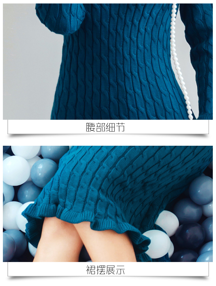 High quality 2019 Winter Turtleneck Hit color Knitted Sweater Dress Sweet Ruffles Women Elastic Bodycon Lady Dresses Vestidos 21