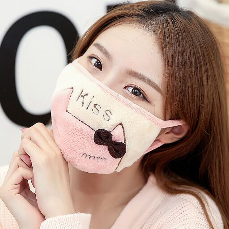 XEONGKVI Korean Cute Cartoon Cat Students Double Letters Embroidery Masks Autumn Winter Warm Brand Riding Women Mouth-muffle