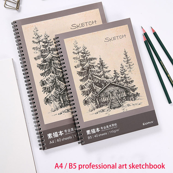 Sketchbook B5 A4 40 pages 110g professional art paper double coil design loose-leaf easy to repeatedly wipe the sketchbook paris sketchbook