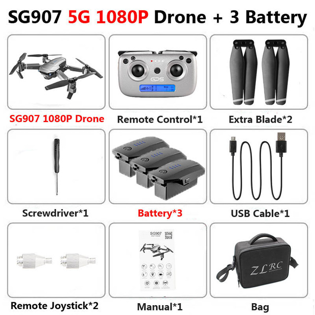 SG907 Pro GPS Drone Quadcopter with HD Dual Camera 4K/1080P 5G Wifi FPV Following Me Professional RC Drones Vs SG907 Drone