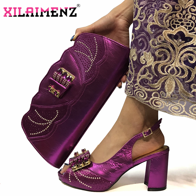 Magenta Color New Design Italian Women Shoes and Bag Set African 