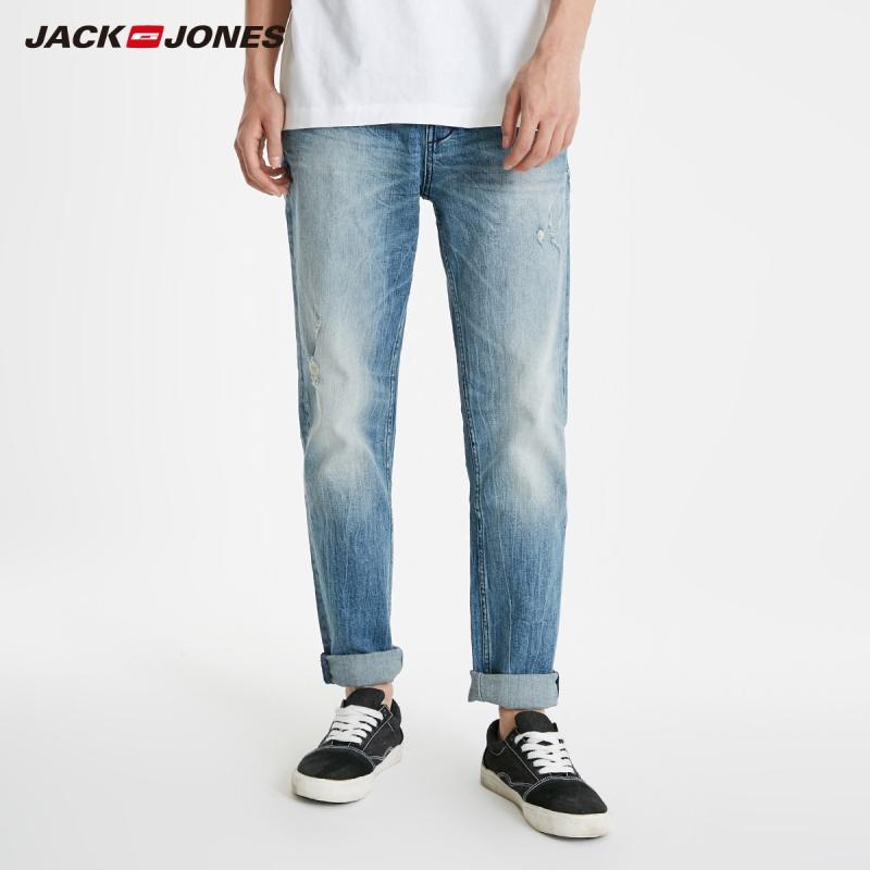 JackJones Men's Slim Fit Tight-leg Washed Ripped Jeans Style 219132565