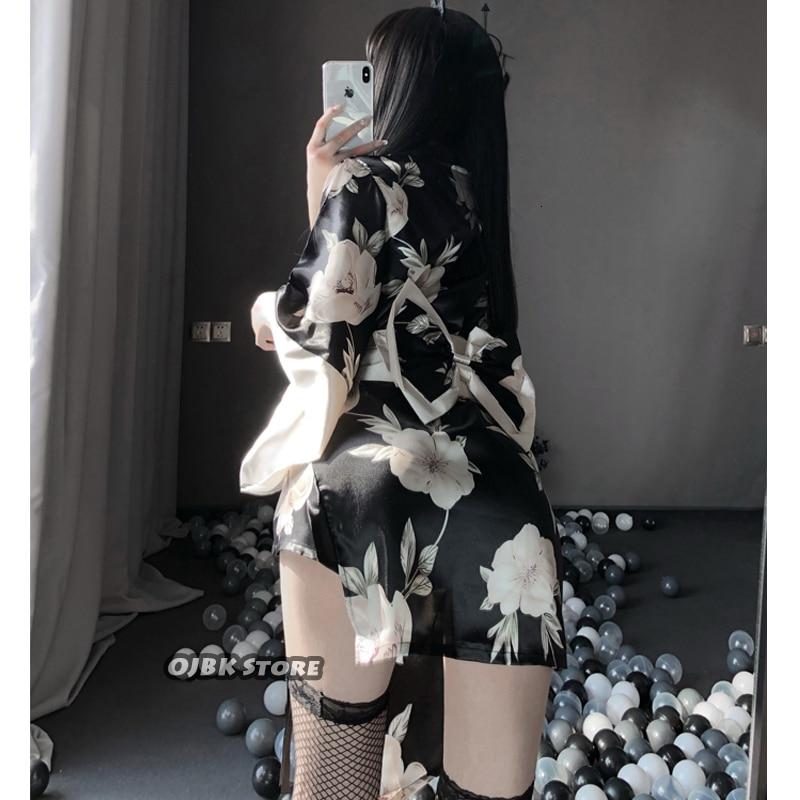Японское кимоно сексуальный костюм для косплея для женщин традиционный стиль халат юката костюмы пижамы мягкий шелковый пояс 3 шт. набор черный красный