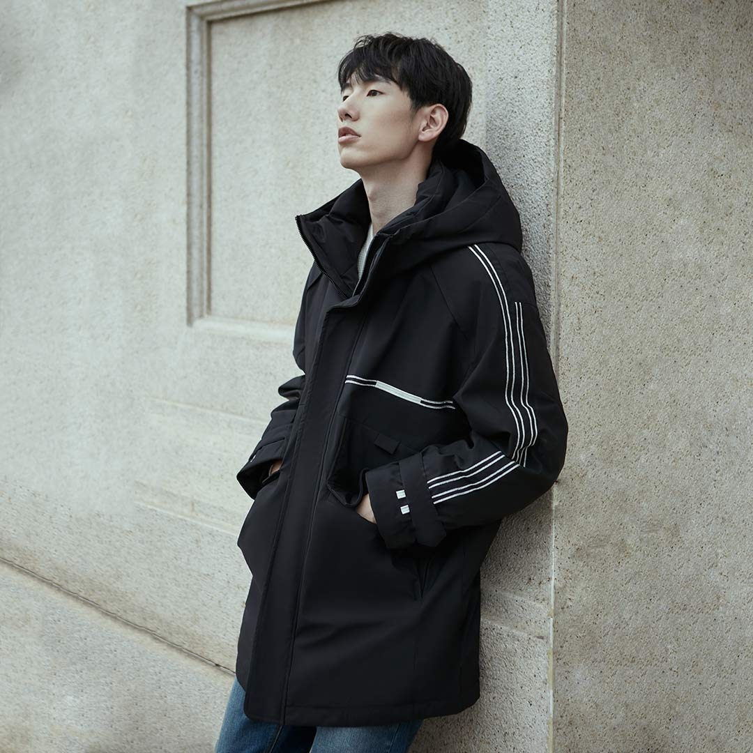 Xiaomi 90Fun moda 3D bordado 90% pato abajo chaqueta Ipx4 impermeable Anti perforación tela con capucha hombres abajo chaquetas abrigos - 3