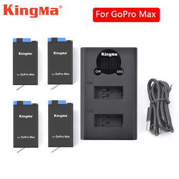 Accessories For GoPro Max Battery Li-ion Rechargeable Battery + LCD Dual Batteries Charger For GoPro Hero 8 Max Action Camera