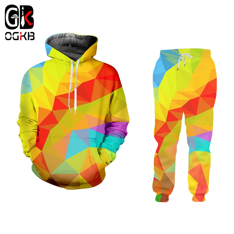 OGKB Fashion Colorful Rhombus Men Sets 3D All Over Print Hip Hop Casual Geometric Patterns Print Hoodies And Pants Oversized