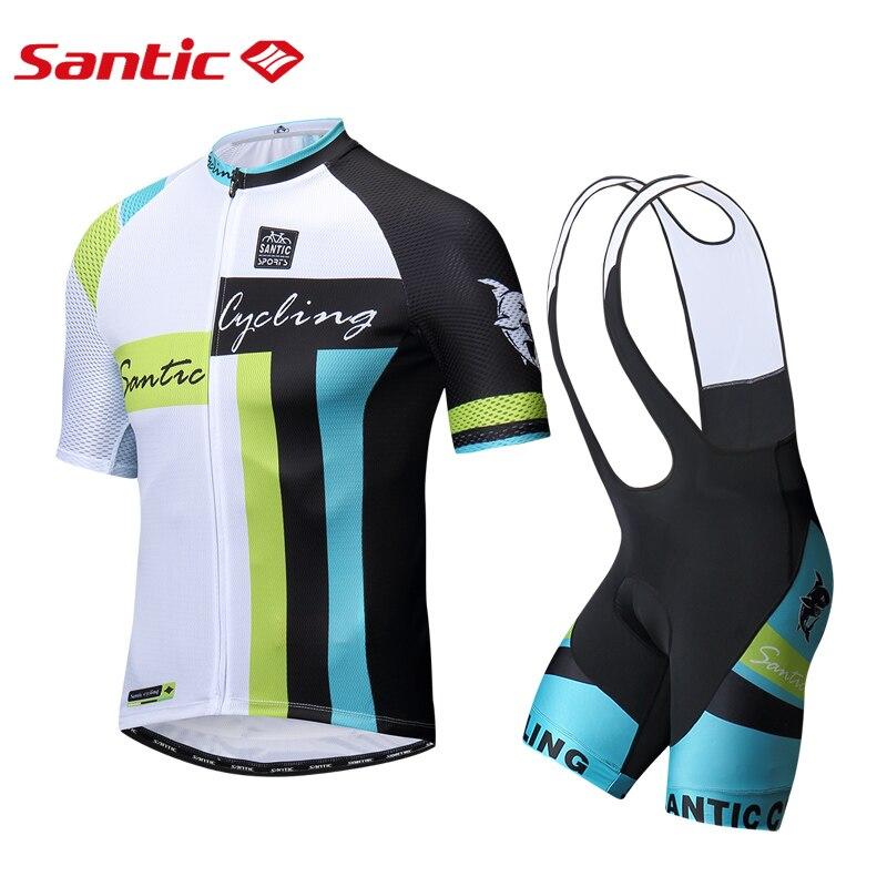 SANTIC Pro Men's Cycling Bib Shorts and jerseys Set 4D Cushion Pad Bib Shorts Breathable Short Sleeve MTB Road Bicycle Equipment title=